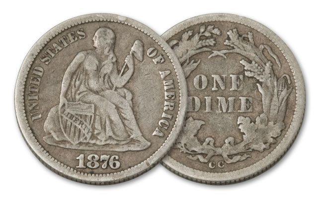 1875-1877-CC 10 Cent Seated Liberty Fine