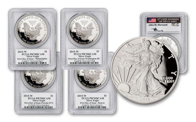 2015-W 1 Dollar 1-oz Silver Eagle Proof 4pc Set PCGS PR70DCAM Mercanti Signed FDI