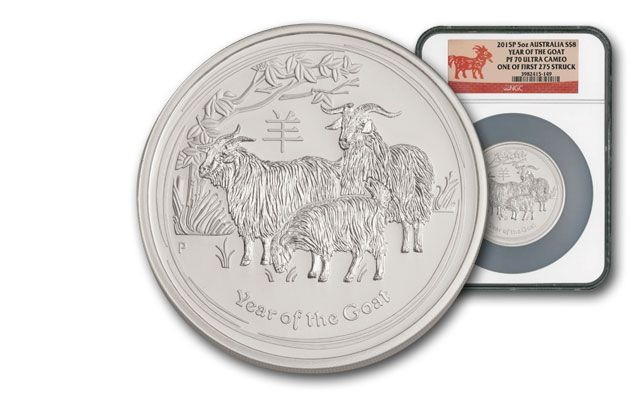 2015 Australia 5-oz Silver Year of the Goat NGC PF70 First Struck