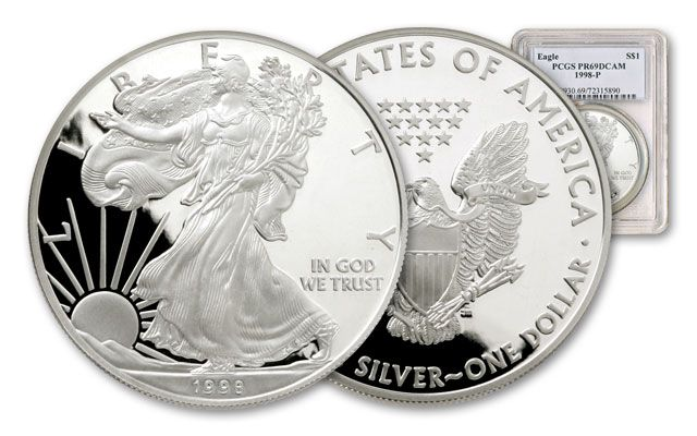 1998 1 Dollar 1-oz Silver Eagle NGC/PCGS Proof 69