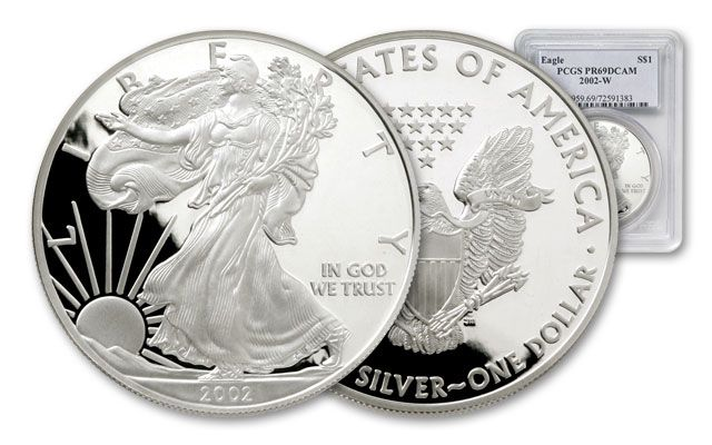 2002 1 Dollar Silver Eagle NGC/PCGS Proof 69