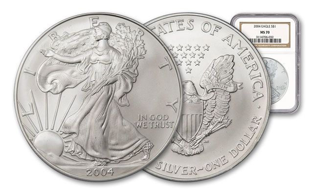 2004 1 Dollar Silver Eagle NGC MS70