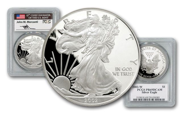 2002 1 Dollar 1-oz Silver Eagle PCGS PR69 Mercanti Signed