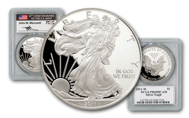 2011 1 Dollar 1-oz Silver Eagle PCGS PR69 Mercanti Signed
