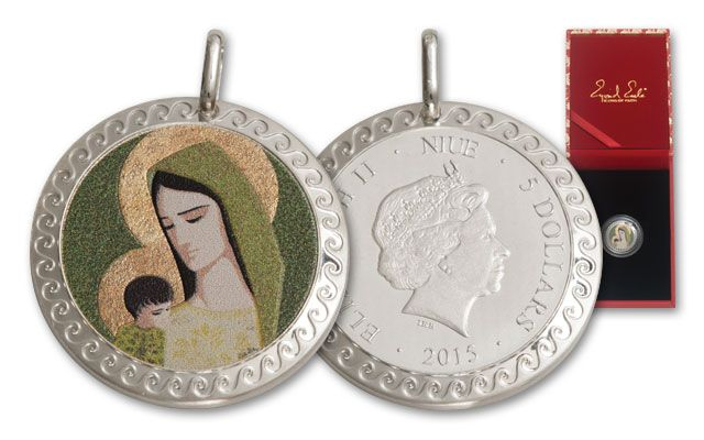 2015 Niue 5 Dollar Silver Madonna and Child Proof-Like Pendant