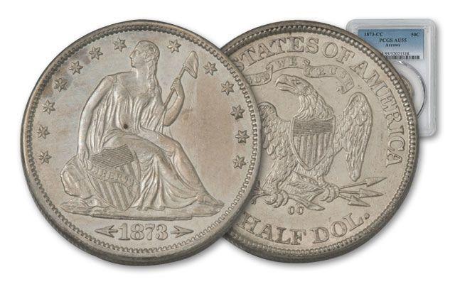 1873-CC 50 Cent Silver Seated Liberty Arrows PCGS AU55