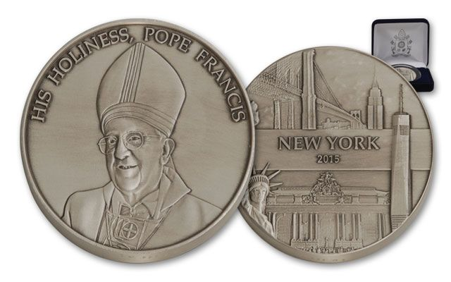 2015 1-oz Silver Pope Francis US Tour New York City BU