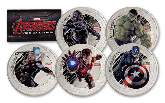 2015 Niue 2 Dollar 1-oz Silver Marvel Avengers 5 Piece Proof Set
