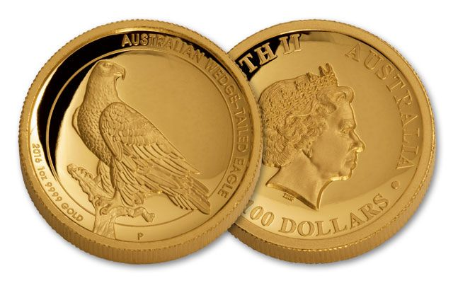 2016 Australia 100 Dollar Gold Wedge Tailed Eagle High Relief Proof