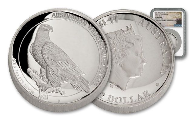 2016 Australia 1-oz Silver Wedge-Tailed Eagle High Relief Mercanti Proof