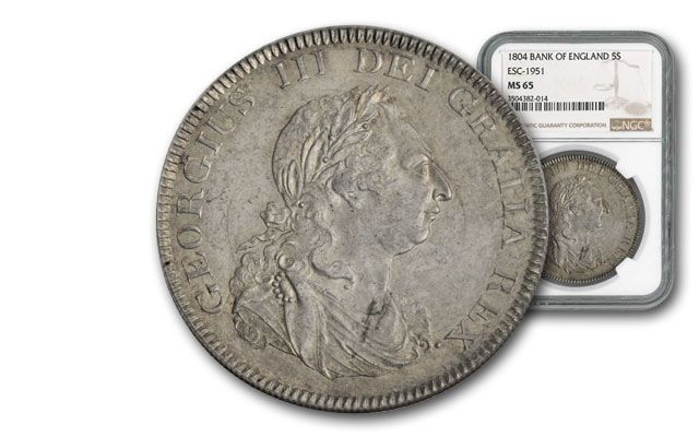 1804 Great Britian 5 Shilling Bank of England NGC MS65