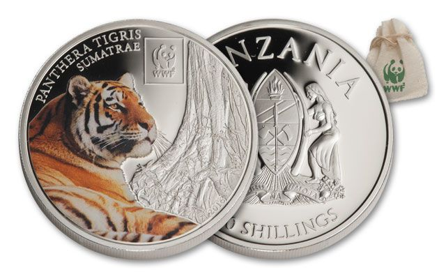 2016 Tanzania 100 Shillings World Wildlife Fund Sumatran Tiger Proof-Like