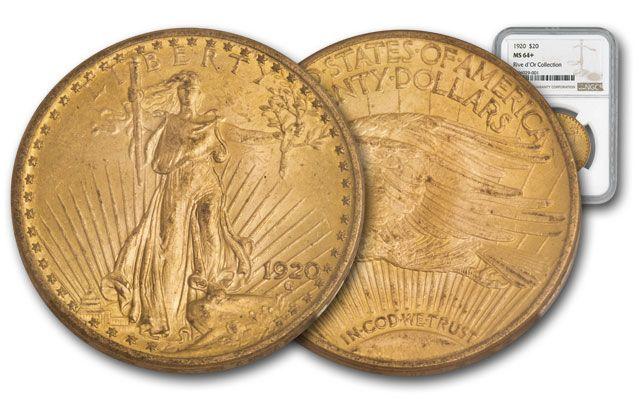 1920-P 20 Dollar 1-oz Gold Saint Gaudens NGC MS64+ Rive d'Or