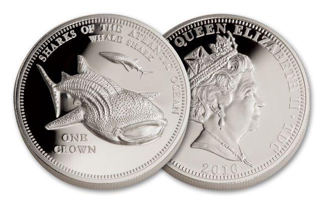 2016 Tristan da Cunha 1 Crown 1-oz Silver Whale Shark Proof
