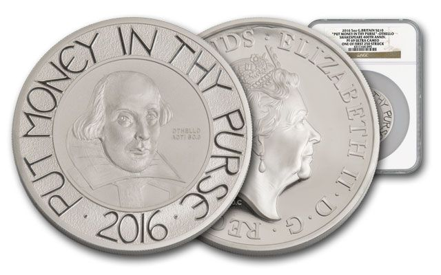 2016 Great Britain 10 Pound 5-oz Silver Shakespeare NGC PF69UC First Releases