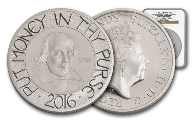 2016 Great Britain 10 Pound 5-oz Silver Shakespeare NGC PF70UC First Releases