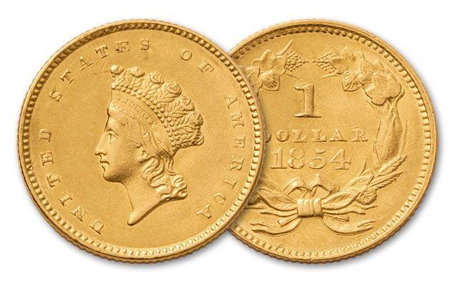 1854-1856 1 Dollar Gold Indian Type II XF