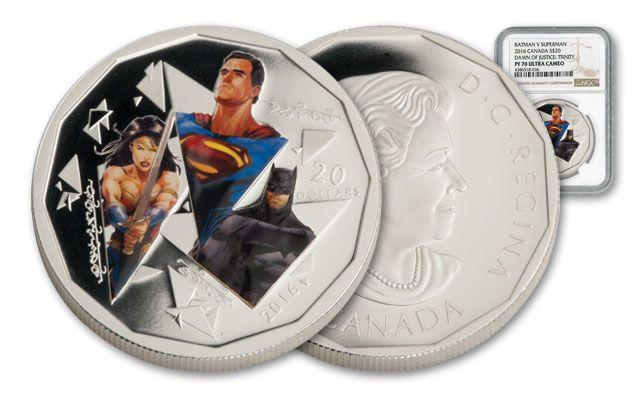 2016 Canada 20 Dollar 1-oz Silver Batman vs Superman Trinity NGC PF70