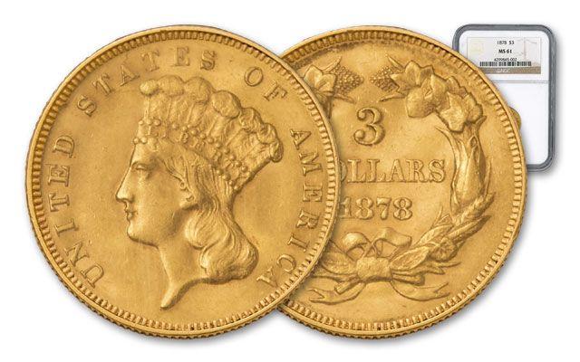 1854-1889 3 Dollar Gold Indian Princess MS61