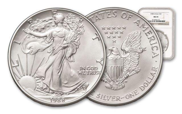 1988 1 Dollar 1-oz Silver Eagle NGC/PCGS MS70   GovMint.com
