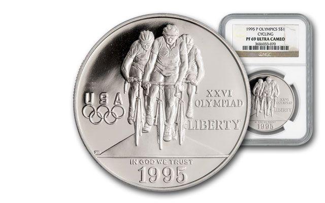 1995-P 1 Dollar Silver Cycling NGC/PCGS PR69