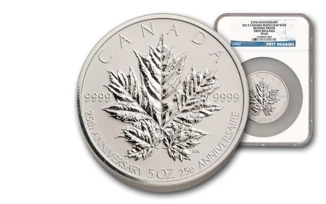 2013 Canada 5-oz Silver Maple Leaf 25th Anniv. NGC PF69