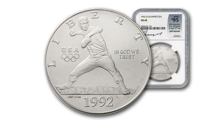 1992-D 1 Dollar Silver Olympic Baseball NGC MS68 Garrett Signed - 100 Greatest Coins