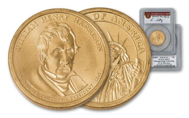 2009 1 Dollar Presidential Error William Henry Harrison PCGS MS67 Moy Signed