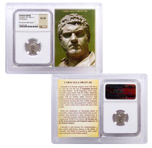 AD 198–217 Ancient Roman Silver Denarius of Caracalla Seven Hills Hoard NGC Ch XF