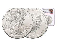2016-S 1 Dollar 1-oz Silver Eagle NGC MS70 Trolley Label