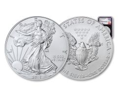 2015-(W) 1 Dollar 1 Ounce Silver Eagle Struck At West Point NGC MS69 - Mercanti Signed, Black Core Label
