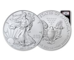 2017-(P) 1 Dollar 1 Ounce Silver Eagle Struck At Philadelphia NGC MS69 Early Releases - Liberty Bell Label, Black Core