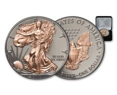 2019 $1 1-oz Silver American Eagle BU with Black Ruthenium and Rose Gold