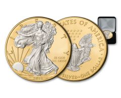 2019 $1 1-oz Silver American Eagle BU Gilded with 24 Karat Gold Background, Silver Walking Liberty and Eagle