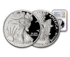 2019-W $1 1-oz Silver American Eagle NGC PF70UC First Releases - Gold Star Label