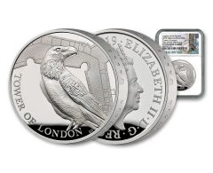 2019 Great Britain £5 Silver Tower of London Ravens Piedfort NGC PF70UC First Strike