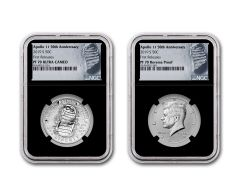 2019-S Apollo 11 50th Anniversary Clad Half Dollar & Kennedy Half Dollar 2-Piece Set NGC PF70 First Releases - Black Core, Astronaut Footprint Labels