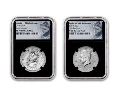 2019-S Apollo 11 50th Anniversary Half Dollar & Kennedy Half Dollar 2-Piece Set NGC PF70 Early Releases - Black Core, Astronaut Footprint Label