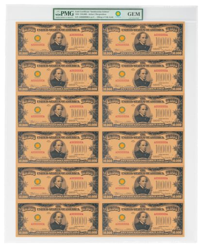 Smithsonian Series 1934 $10,000 24K Gold Certificate PMG Gem Uncut Sheet