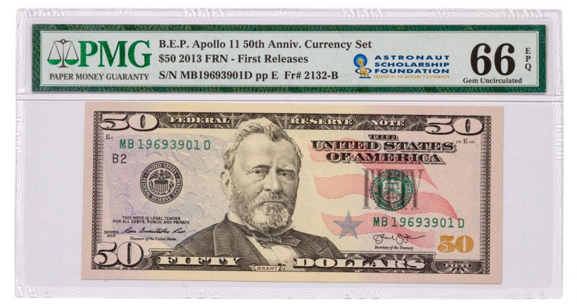 2019 $50 Apollo 11 50th Anniversary Currency Set PMG 66 First Releases w/ASF Label
