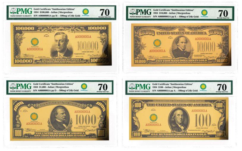 Smithsonian Series 1934 24K Gold Certificates PMG 70 4-pc Set