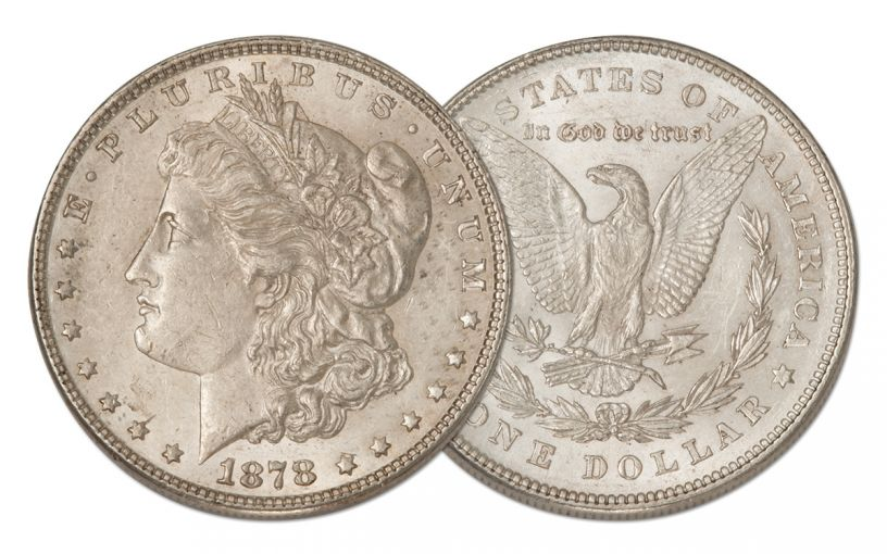 1878-P Morgan Silver Dollar 7 Tail Feathers AU