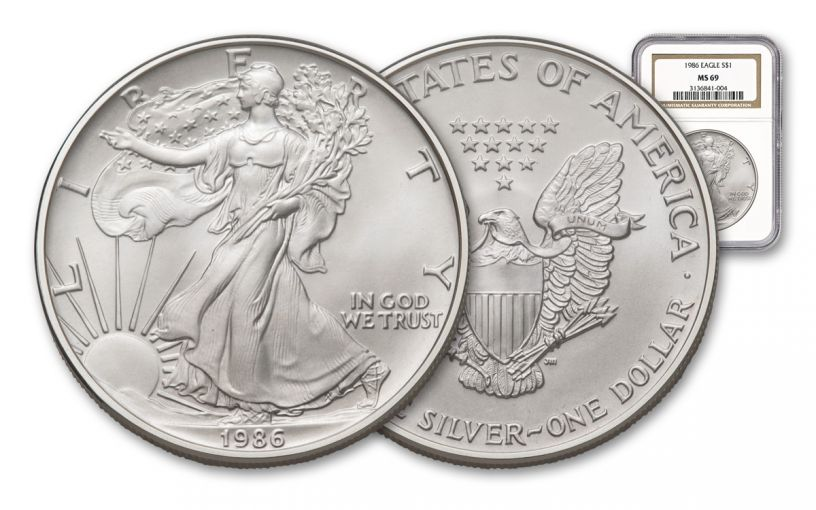 1986 $1 One-Ounce Silver Eagle NGC MS69