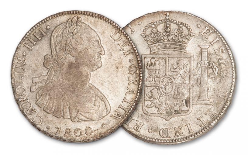1800 Chile 8 Reales Silver Santiago Carlos IIII XF/AU