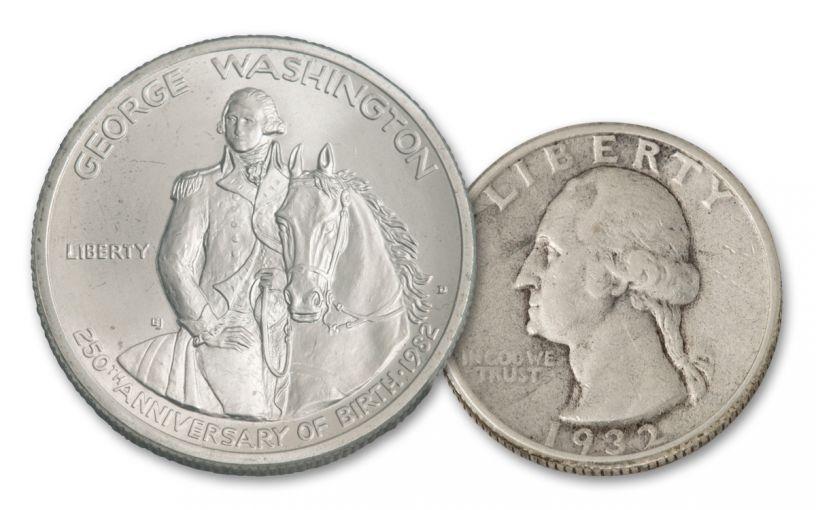 1932-P/1982-D Silver 50 Years of George Washington 2pc Set