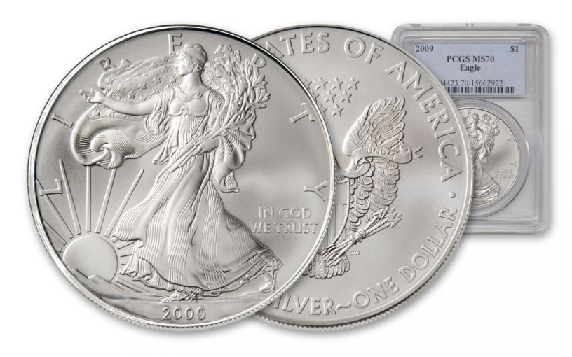 2009 One Ounce $1 Silver Eagle PCGS MS70