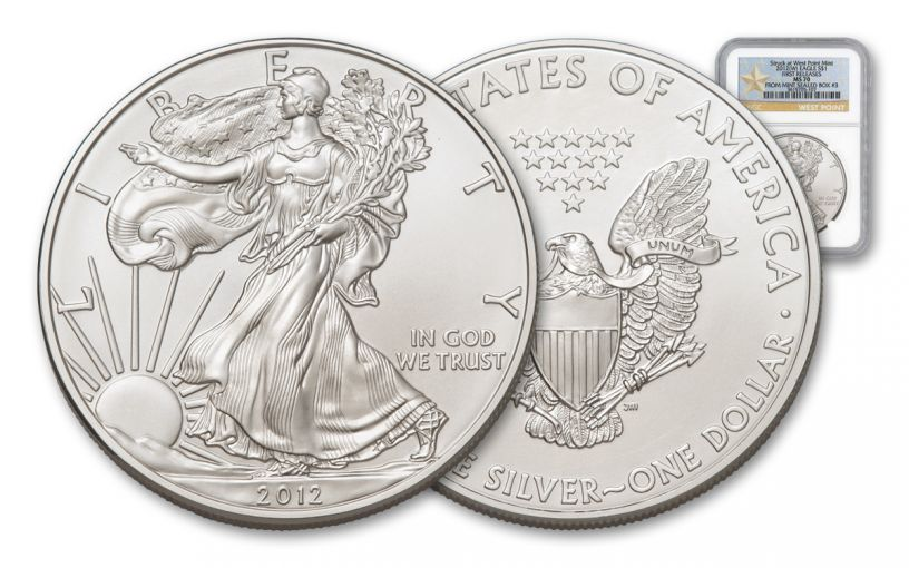 2012-W 1 Dollar 1-oz Silver Eagle Box 3 NGC MS70 First Releases