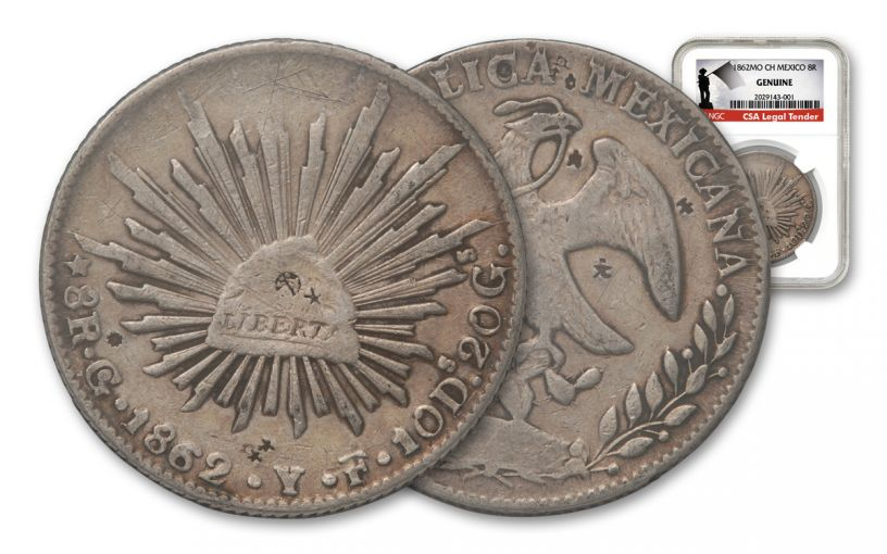 1862 Mexico 8 Reales NGC-Genuine Southern Dollar