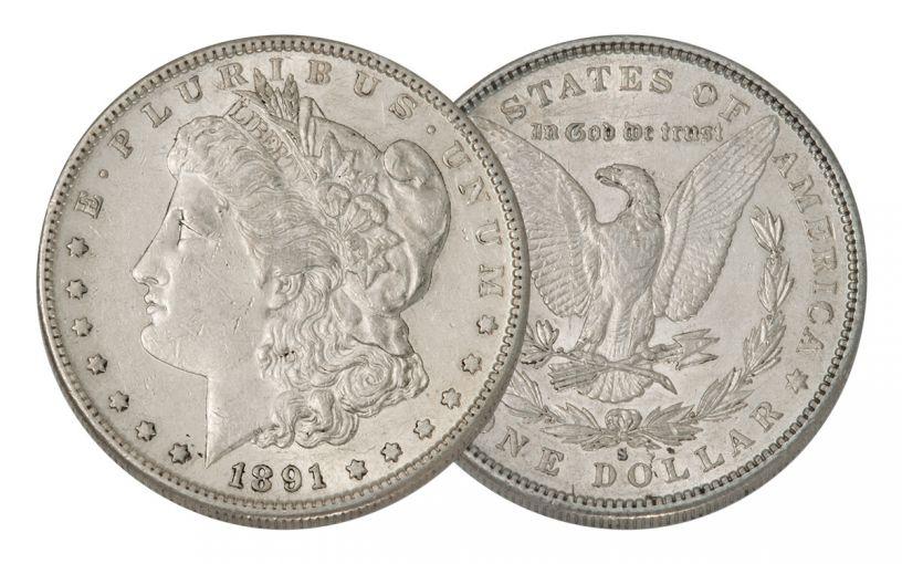 1891-S Morgan Silver Dollar AU