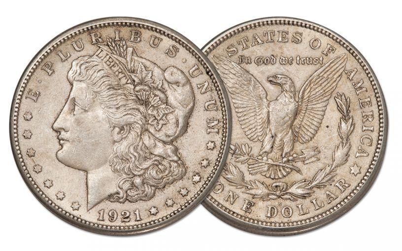 1921-S Morgan Silver Dollar AU